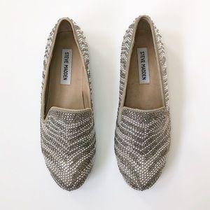 Steve Madden Silver Crystal Loafers 7